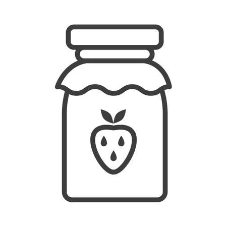 Strawberry jam jar. Simple food icon in trendy style isolated on white background for web apps and mobile concept. Vector Illustration. EPS10