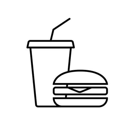 Burger and lemonade. Simple food icon in trendy line style isolated on white background for web applications and mobile concepts.