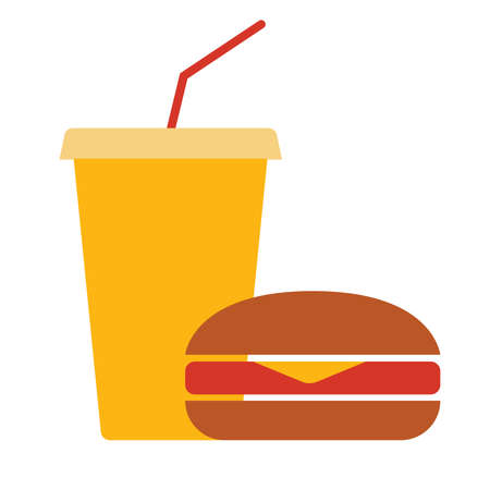 Burger and lemonade. Simple food icon in trendy style isolated on white background for web applications and mobile concepts.