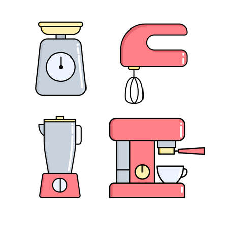 Kitchen appliances icon set. Coffee machine, mixer blender and scales for web applications and mobile concepts.