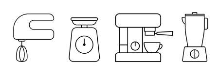 Kitchen appliances icon set. Coffee machine, mixer blender and scales for web applications and mobile concepts. Vector illustration EPS10