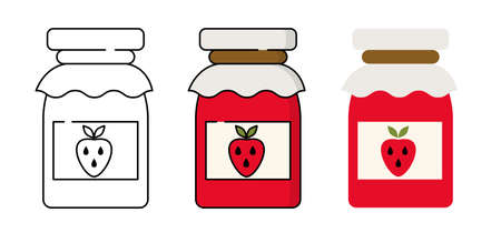 Strawberry jam jar. Simple food icon in trendy style isolated on white background for web apps and mobile concept. Vector Illustration EPS10