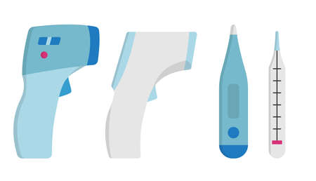 Collection Set of Medical Thermometer Simple Icon.
