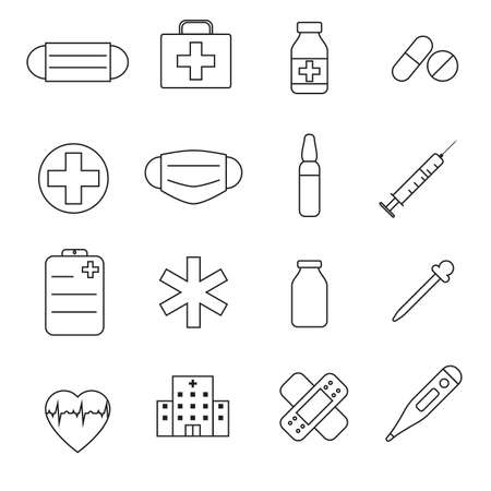 Set of Simple meducal icon in trendy line style isolated on white background for web apps and mobile concept.