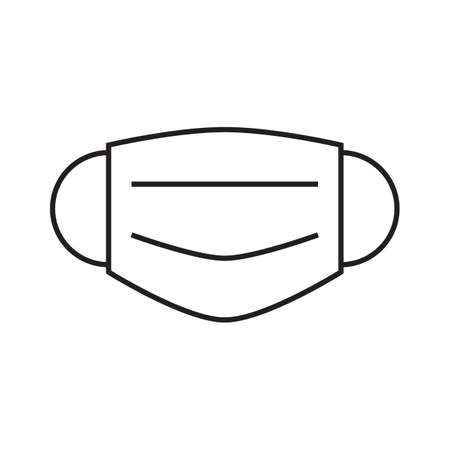 Medical protective mask simple icon in trendy line style isolated on white background for web apps and mobile concept. Vector Illustration EPS10 Illustration
