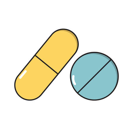 Pills simple medical icon in trendy line style isolated on white background for web apps and mobile concept. Illustration