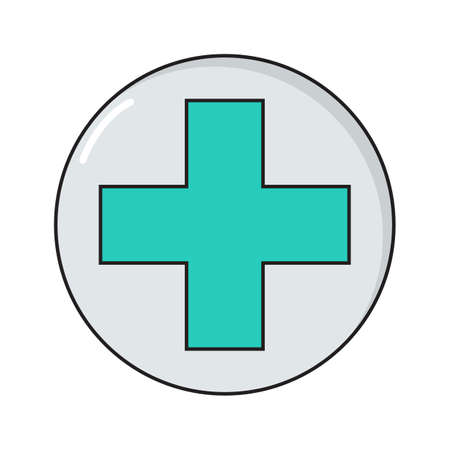 Cross simple medical icon in trendy line style isolated on white background for web apps and mobile concept. Illustration