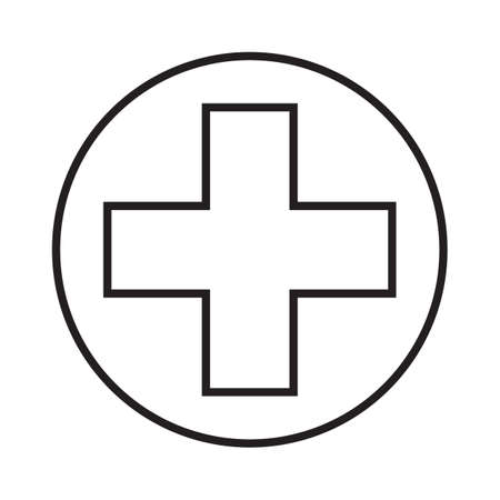 Cross simple medical icon in trendy line style isolated on white background for web apps and mobile concept. Vector Illustration EPS10