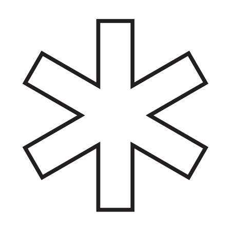 Star of life simple medical icon in trendy line style isolated on white background for web apps and mobile concept. Vector Illustration EPS10 Illustration
