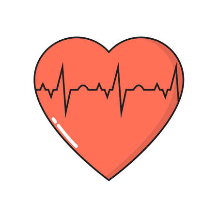 Heart cardiogram simple medical icon in trendy line style isolated on white background for web apps and mobile concept. Vector Illustration EPS10 Illustration