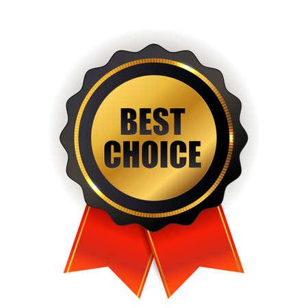 Best choice golden quality label sign. Vector illustration.