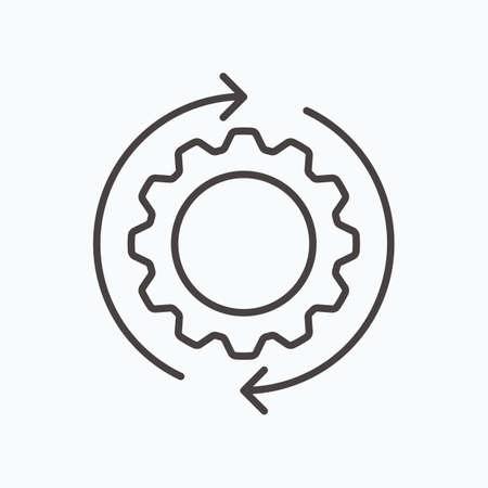 Development solution thin Line Icon. Gear with arrow innovation . Vector Illustration.
