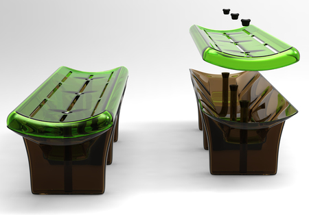attract attention: Design of a bench from high-strength materials. Art object Illustration 3d model.
