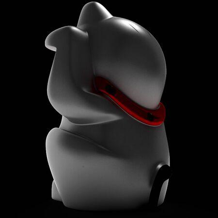 representational: Cat Maneki Neko white. Art object. Illustration 3d model. Stock Photo