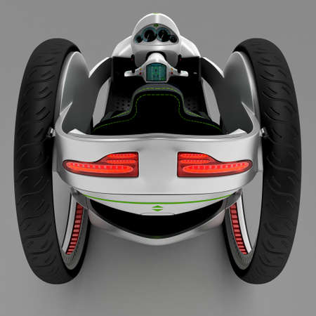 slowdown: The concept of a city electric vehicle. A cost-effective vehicle. 3D illustration.