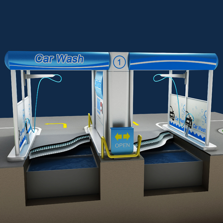 Car non-contact washing of self-service. Scheme of the working process of equipment. City infrastructure. Illustration 3d model.