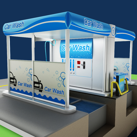 Car non-contact washing of self-service. Scheme of the working process of equipment. City infrastructure. Illustration 3d model. Reklamní fotografie - 75080526