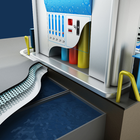 cleaning service: Car non-contact washing of self-service. Scheme of the working process of equipment. City infrastructure. Illustration 3d model.