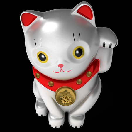 animal figurines: Japan lucky cat isolated on white. Art object. Illustration 3d model. Stock Photo
