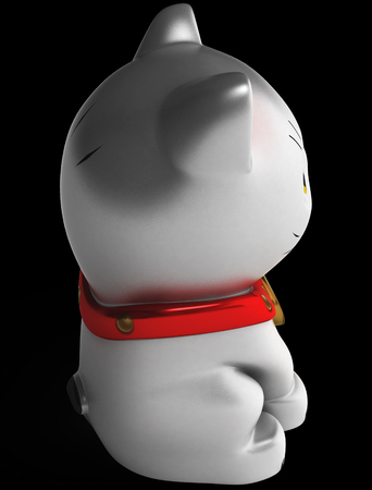 superstitious: Japan lucky cat isolated on white. Art object. Illustration 3d model. Stock Photo