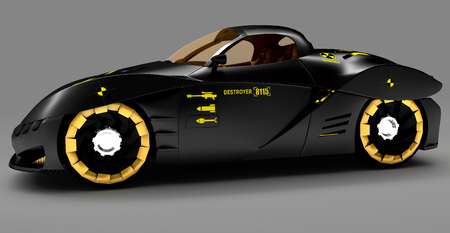 Design of the city car concept in a futuristic style. Armored compartment. 3D illustration.