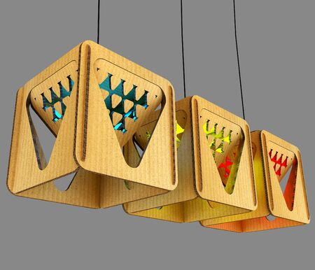 modular home: Modular designer lamp. Art object. 3D illustration Stock Photo
