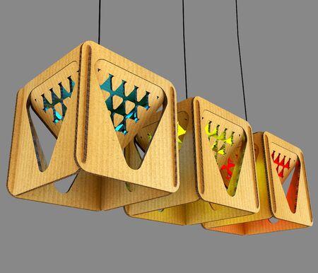 Modular designer lamp. Art object. 3D illustration Stock Photo