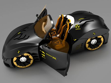 knocking: Design of the city car concept in a futuristic style. Armored compartment. 3D illustration.