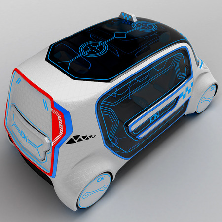Concept design of the city universal electric vehicle. Project of modern transport. 3D illustration.
