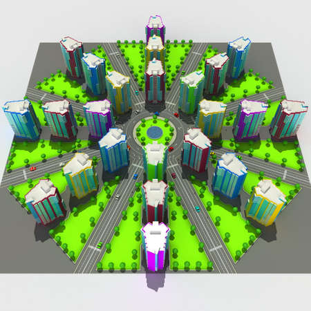Scheme of the urban episode with the same type of building typical high-rise buildings. In the cartoon style. 3D illustration.