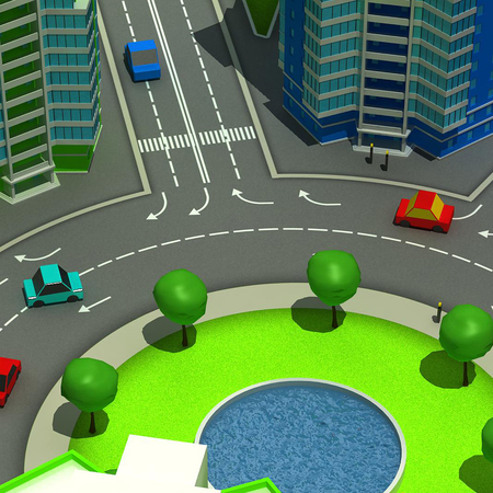 top animated: Scheme of the urban episode with the same type of building typical high-rise buildings. In the cartoon style. 3D illustration.