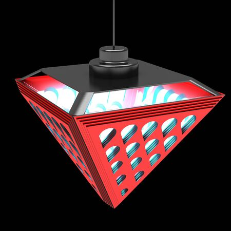 Stylish ceiling lamp with refractive elements. Design concept. Art object. 3D illustration. Stock Photo