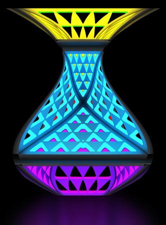 Multifunctional economical night lamp. Modular system of transformation. Art object. 3D illustration. Stock Photo