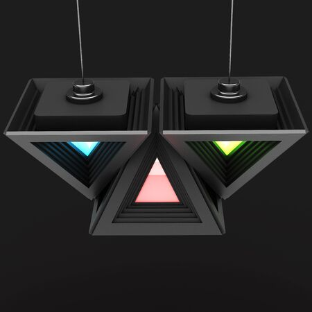 granting: Stylish black pyramidal shape with a modular division of design elements. Art object. 3D illustration.