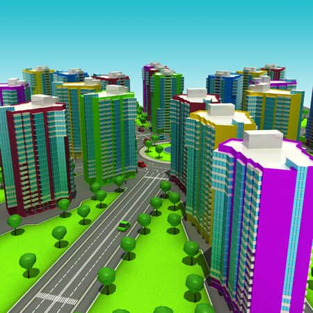 ring road: Scheme of the urban episode with the same type of building typical high-rise buildings. In the cartoon style. 3D illustration.
