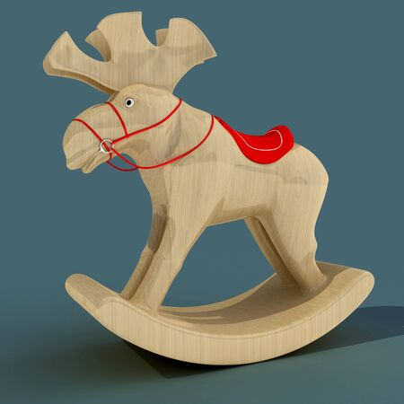 Childrens Rocking Elk. A toy for the fun of a child. Material wood. Art object. 3D illustration.