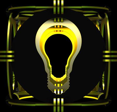 Decorative lamp symbolizing a light bulb. Art object. 3D illustration.
