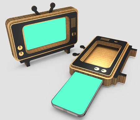 splitting: Stylized for the old TV case for modern smartphones. Art object. 3D illustration.