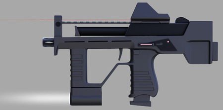 guerrilla: Modern automotical weapons pistol machine gun of a new pattern. It was developed taking into account all technical parameters. Design concept. 3D illustration.