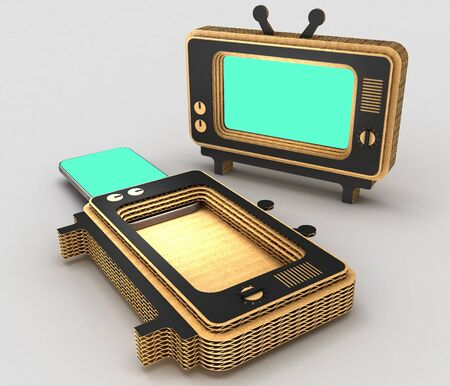 Stylized for the old TV case for modern smartphones. Art object. 3D illustration.