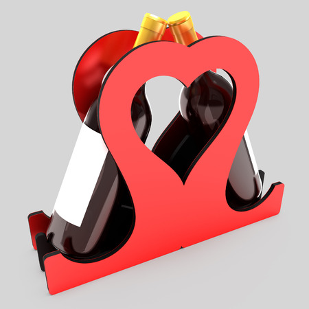 Decorative bottle stand for wine in the form of a heart on a wedding theme. Art object. 3D illustration. Stock Photo