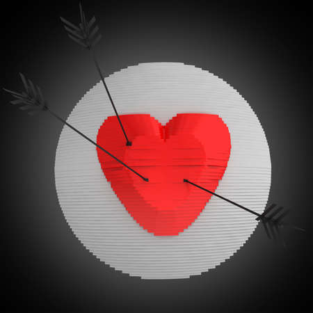 Decorative panel target designed as a heart with arrows. Art object. 3D illustration.
