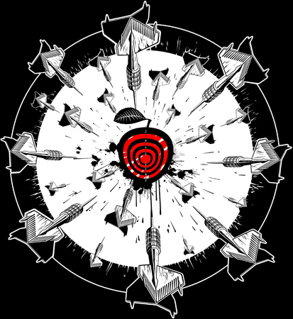 Sketching darts and getting into the center of the target. Creative print art object. Illustration. Stock Photo