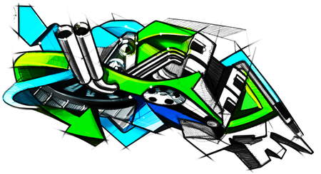 cliche: Drawing graffiti on the motorcycle style. Computer graphics. Illustration.