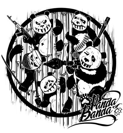 venganza: Dibujo a mano. La venganza de los pandas. Personajes estilizados de dibujos animados. Gráficos de computadora. Ilustración Foto de archivo