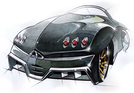 car: A sketch of the design of a modern futuristic sports car. Concept project. Illustration.