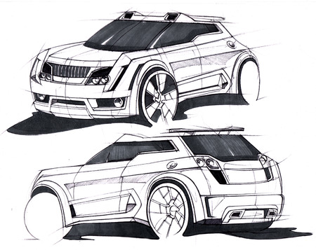 Sketch by hand of a vehicle with increased terrain. Design tuning project. Illustration.