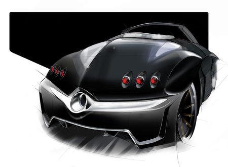 A sketch of the design of a modern futuristic sports car. Concept project. Illustration.