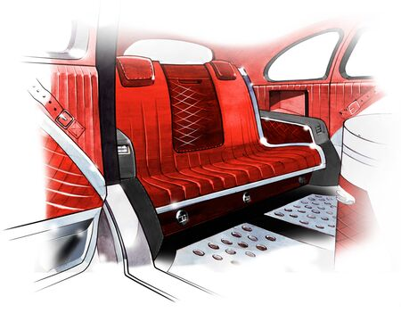 lame: Sketch of interior design of a retro coupe car. Drawing by hand. Illustration.