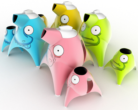 Tea and coffee childrens service designed in the form of cartoon characters stylized for different animals. Design concept art object. 3D illustration.